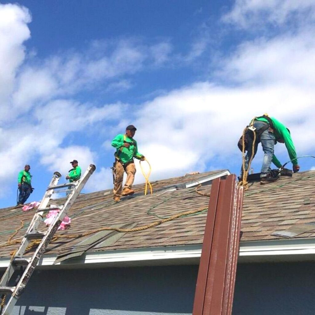 roofing crew working